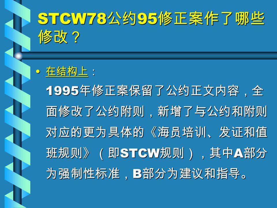 STCW78 公约 95 修正案作了哪些 修改? 在结构上: 1995 年修正案保留了公约正文内容,全 面修改了公约附则,新增了与公约和附则 对应的更为具体的《海员培训、发证和值 班规则》(即 STCW 规则),其中 A 部分 为强制性标准, B 部分为建议和指导。 在结构上: 1995 年修正案保留了公约正文内容,全 面修改了公约附则,新增了与公约和附则 对应的更为具体的《海员培训、发证和值 班规则》(即 STCW 规则),其中 A 部分 为强制性标准, B 部分为建议和指导。