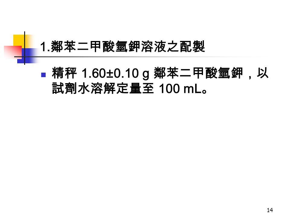 1. 鄰苯二甲酸氫鉀溶液之配製 精秤 1.60±0.10 g 鄰苯二甲酸氫鉀,以 試劑水溶解定量至 100 mL 。 14