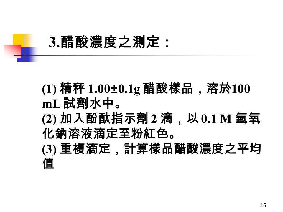 16 (1) 精秤 1.00±0.1g 醋酸樣品,溶於 100 mL 試劑水中。 (2) 加入酚酞指示劑 2 滴,以 0.1 M 氫氧 化鈉溶液滴定至粉紅色。 (3) 重複滴定,計算樣品醋酸濃度之平均 值 3.