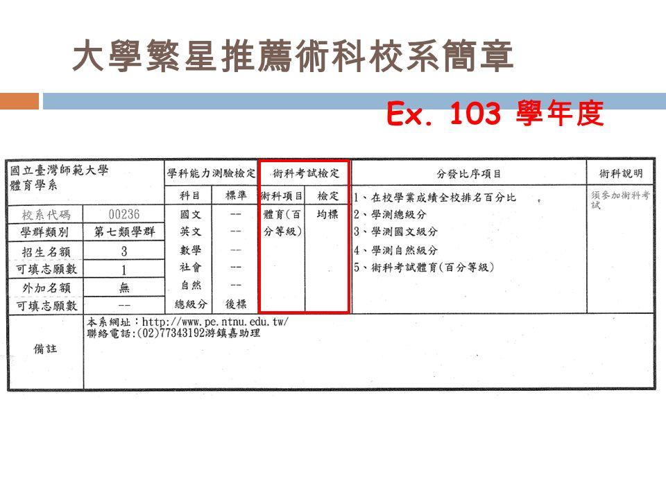 大學繁星推薦術科校系簡章 Ex. 103 學年度