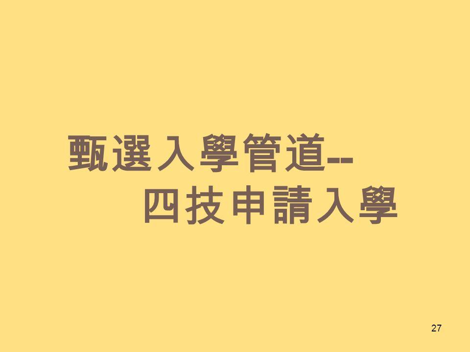 甄選入學管道 -- 四技申請入學 27