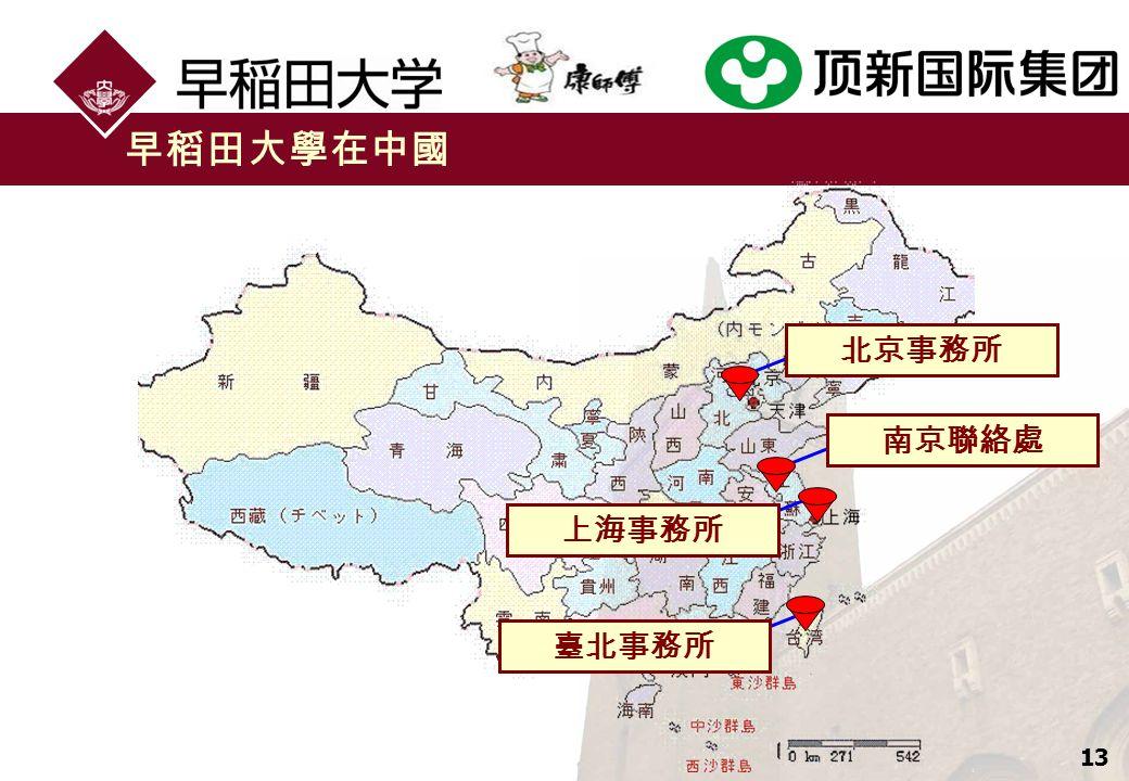 13 早稻田大學在中國 北京事務所 南京聯絡處 上海事務所 臺北事務所