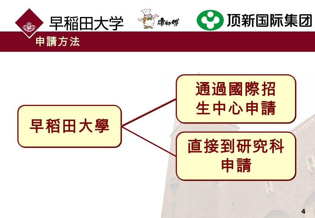 4 申請方法 早稻田大學 通過國際招 生中心申請 直接到研究科 申請