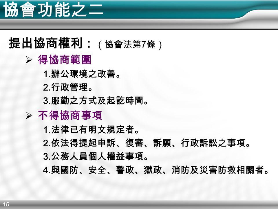 15 協會功能之二 提出協商權利: (協會法第 7 條)  得協商範圍 1. 辦公環境之改善。 2.