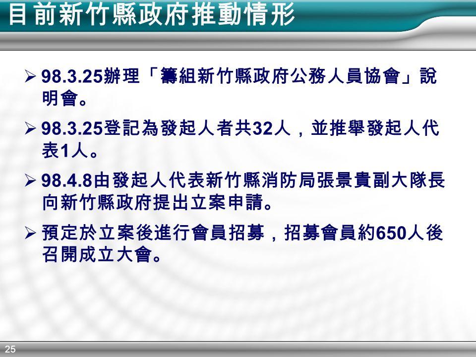 25 目前新竹縣政府推動情形  98.3.25 辦理「籌組新竹縣政府公務人員協會」說 明會。  98.3.25 登記為發起人者共 32 人,並推舉發起人代 表 1 人。  98.4.8 由發起人代表新竹縣消防局張景貴副大隊長 向新竹縣政府提出立案申請。  預定於立案後進行會員招募,招募會員約 650 人後 召開成立大會。