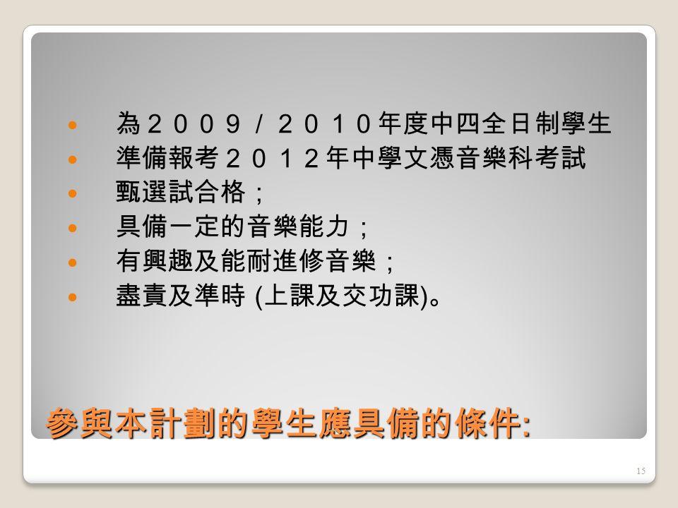 香港中學文憑考試 音樂科 有關課程綱要內容, 請瀏覽香港教育局及香港考試及評核局網頁 http://www.edb.gov.hk http://www.hkeaa.edu.hk 14