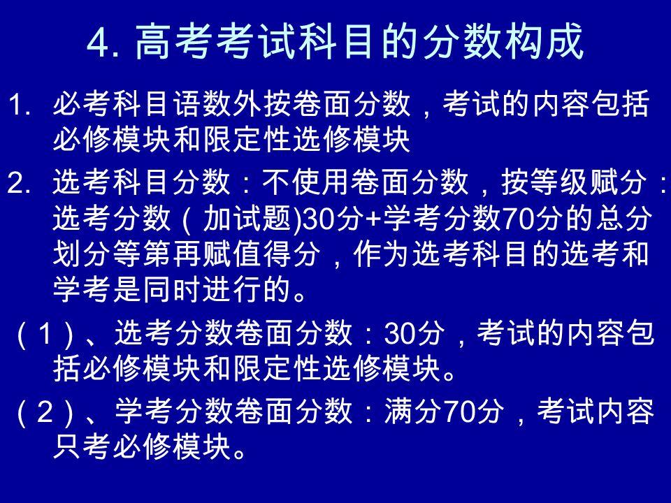 4. 高考考试科目的分数构成 1. 必考科目语数外按卷面分数,考试的内容包括 必修模块和限定性选修模块 2.