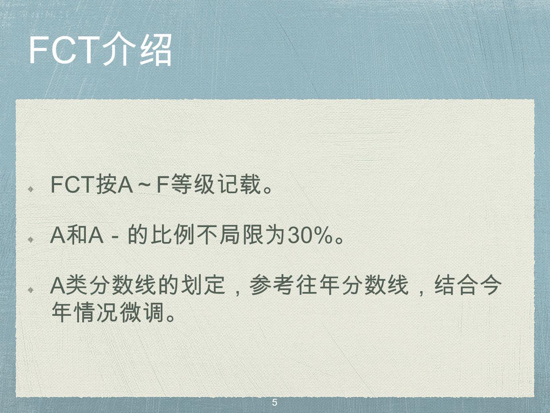 FCT 介绍 FCT 按 A ~ F 等级记载。 A 和 A -的比例不局限为 30% 。 A 类分数线的划定,参考往年分数线,结合今 年情况微调。 5