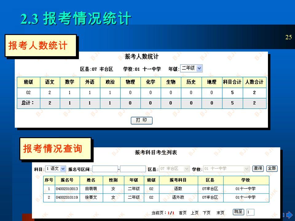 25 2.3 报考情况统计 报考人数统计 报考情况查询