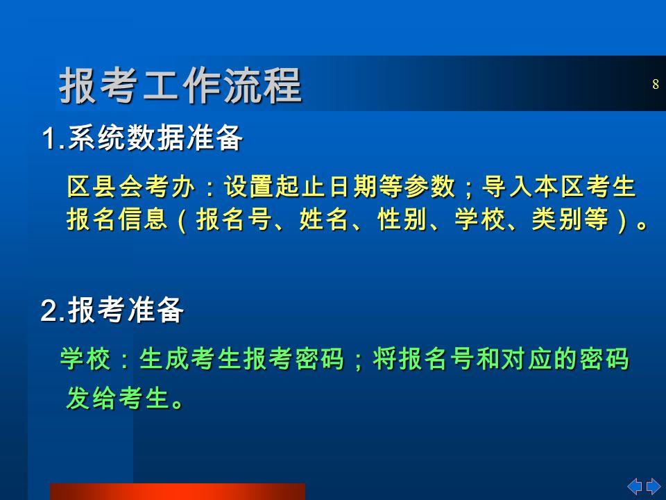 8 报考工作流程 1. 系统数据准备 区县会考办:设置起止日期等参数;导入本区考生 报名信息(报名号、姓名、性别、学校、类别等)。 2.