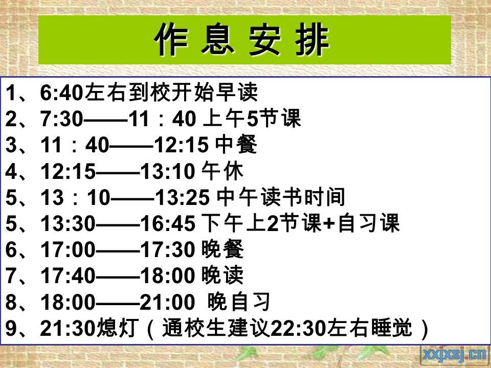 作 息 安 排 1 、 6:40 左右到校开始早读 2 、 7:30——11 : 40 上午 5 节课 3 、 11 : 40——12:15 中餐 4 、 12:15——13:10 午休 5 、 13 : 10——13:25 中午读书时间 5 、 13:30——16:45 下午上 2 节课 + 自习课 6 、 17:00——17:30 晚餐 7 、 17:40——18:00 晚读 8 、 18:00——21:00 晚自习 9 、 21:30 熄灯(通校生建议 22:30 左右睡觉)