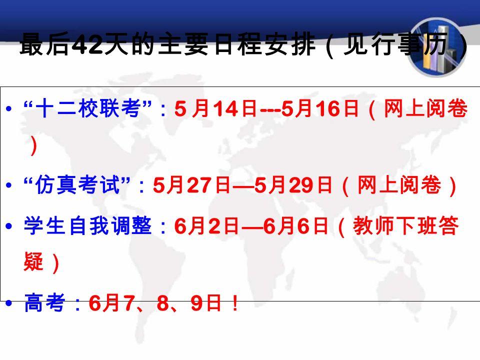 最后 42 天的主要日程安排(见行事历) 十二校联考 : 5 月 14 日 ---5 月 16 日(网上阅卷 ) 仿真考试 : 5 月 27 日 — 5 月 29 日(网上阅卷) 学生自我调整: 6 月 2 日 — 6 月 6 日(教师下班答 疑) 高考: 6 月 7 、 8 、 9 日!