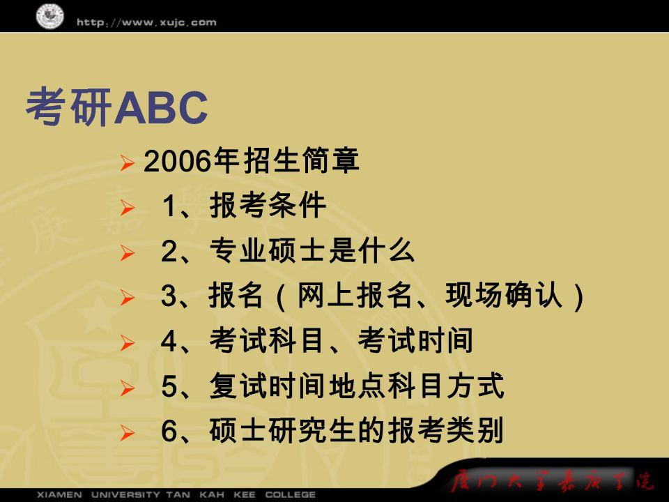 考研 ABC  2006 年招生简章  1 、报考条件  2 、专业硕士是什么  3 、报名(网上报名、现场确认)  4 、考试科目、考试时间  5 、复试时间地点科目方式  6 、硕士研究生的报考类别