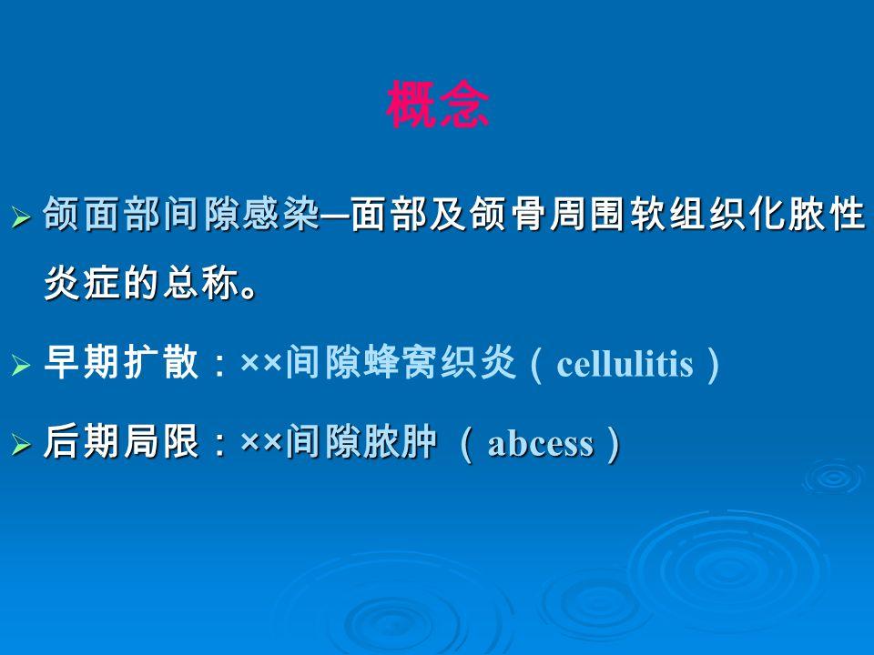 概念  颌面部间隙感染 ─ 面部及颌骨周围软组织化脓性 炎症的总称。  早期扩散: ×× 间隙蜂窝织炎( cellulitis )  后期局限: ×× 间隙脓肿 ( abcess )