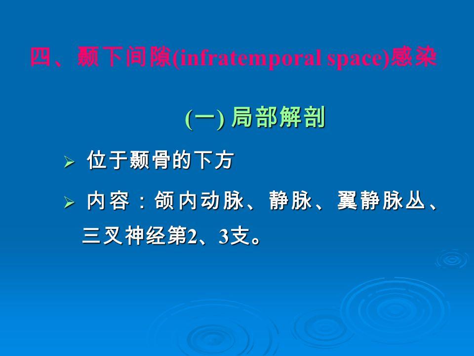 四、颞下间隙 (infratemporal space) 感染 ( 一 ) 局部解剖  位于颞骨的下方  内容:颌内动脉、静脉、翼静脉丛、 三叉神经第 2 、 3 支。