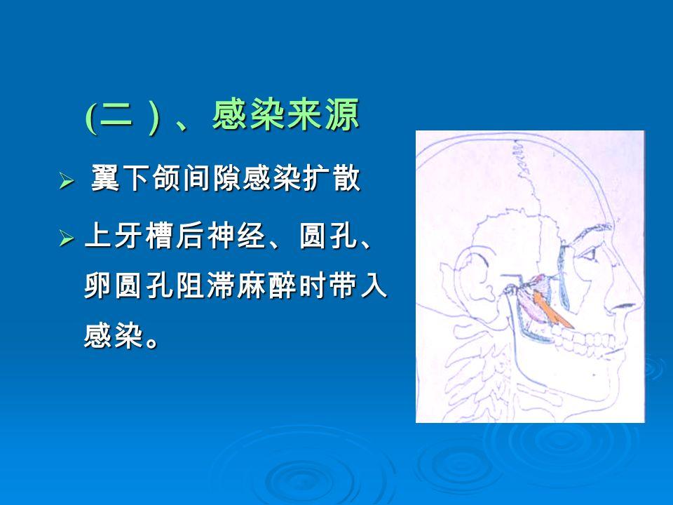 ( 二)、感染来源  翼下颌间隙感染扩散  上牙槽后神经、圆孔、 卵圆孔阻滞麻醉时带入 感染。