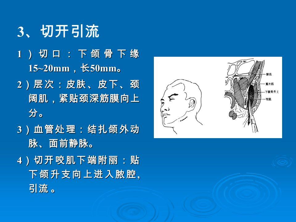 3 、切开引流 1 )切口:下颌骨下缘 15~20mm ,长 50mm 。 2 )层次:皮肤、皮下、颈 阔肌,紧贴颈深筋膜向上 分。 3 )血管处理:结扎颌外动 脉、面前静脉。 4 )切开咬肌下端附丽:贴 下颌升支向上进入脓腔, 引流 。