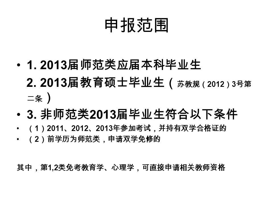 申报范围 1. 2013 届师范类应届本科毕业生 2. 2013 届教育硕士毕业生( 苏教规( 2012 ) 3 号第 二条 ) 3.