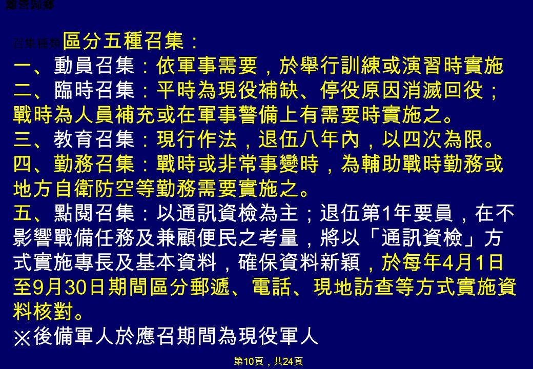 離營歸鄉 召集種類 區分五種召集: 一、動員召集:依軍事需要,於舉行訓練或演習時實施 二、臨時召集:平時為現役補缺、停役原因消滅回役; 戰時為人員補充或在軍事警備上有需要時實施之。 三、教育召集:現行作法,退伍八年內,以四次為限。 四、勤務召集:戰時或非常事變時,為輔助戰時勤務或 地方自衛防空等勤務需要實施之。 五、點閱召集:以通訊資檢為主;退伍第 1 年要員,在不 影響戰備任務及兼顧便民之考量,將以「通訊資檢」方 式實施專長及基本資料,確保資料新穎,於每年 4 月 1 日 至 9 月 30 日期間區分郵遞、電話、現地訪查等方式實施資 料核對。 ※後備軍人於應召期間為現役軍人 第 10 頁,共 24 頁