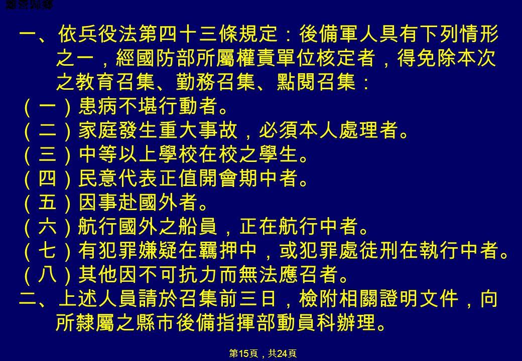 離營歸鄉 第 15 頁,共 24 頁 一、依兵役法第四十三條規定:後備軍人具有下列情形 之一,經國防部所屬權責單位核定者,得免除本次 之教育召集、勤務召集、點閱召集: (一)患病不堪行動者。 (二)家庭發生重大事故,必須本人處理者。 (三)中等以上學校在校之學生。 (四)民意代表正值開會期中者。 (五)因事赴國外者。 (六)航行國外之船員,正在航行中者。 (七)有犯罪嫌疑在羈押中,或犯罪處徒刑在執行中者。 (八)其他因不可抗力而無法應召者。 二、上述人員請於召集前三日,檢附相關證明文件,向 所隸屬之縣市後備指揮部動員科辦理。