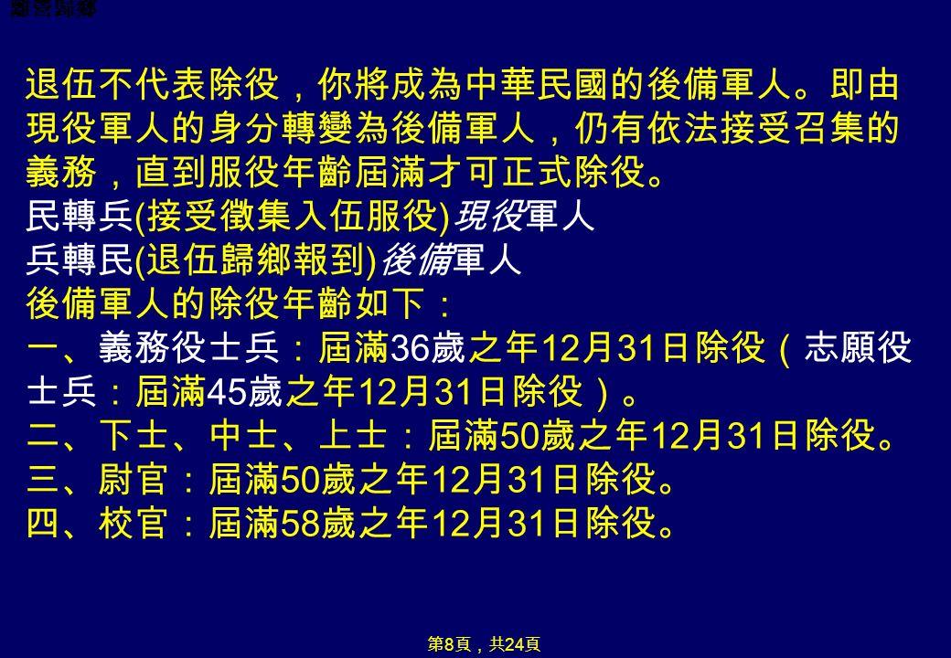 離營歸鄉 退伍不代表除役,你將成為中華民國的後備軍人。即由 現役軍人的身分轉變為後備軍人,仍有依法接受召集的 義務,直到服役年齡屆滿才可正式除役。 民轉兵 ( 接受徵集入伍服役 ) 現役軍人 兵轉民 ( 退伍歸鄉報到 ) 後備軍人 後備軍人的除役年齡如下: 一、義務役士兵:屆滿 36 歲之年 12 月 31 日除役(志願役 士兵:屆滿 45 歲之年 12 月 31 日除役)。 二、下士、中士、上士:屆滿 50 歲之年 12 月 31 日除役。 三、尉官:屆滿 50 歲之年 12 月 31 日除役。 四、校官:屆滿 58 歲之年 12 月 31 日除役。 第 8 頁,共 24 頁