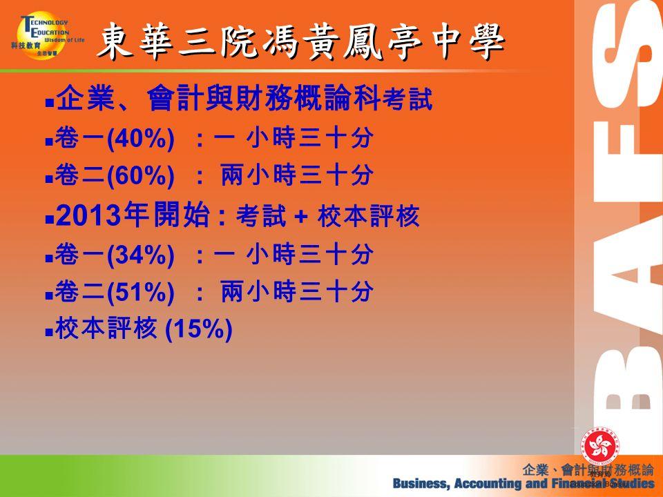 東華三院馮黃鳳亭中學 企業、會計與財務概論科 考試 卷一 (40%) : 一 小時三十分 卷二 (60%) : 兩小時三十分 2013 年開始 : 考試 + 校本評核 卷一 (34%) : 一 小時三十分 卷二 (51%) : 兩小時三十分 校本評核 (15%)