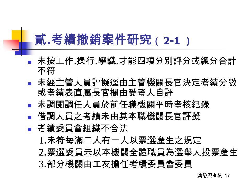 獎懲與考績 17 貳. 考績撤銷案件研究 ( 2-1 ) 未按工作. 操行. 學識.