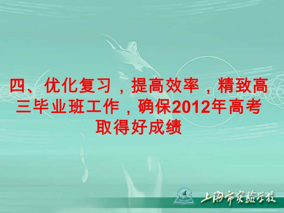 四、优化复习,提高效率,精致高 三毕业班工作,确保 2012 年高考 取得好成绩
