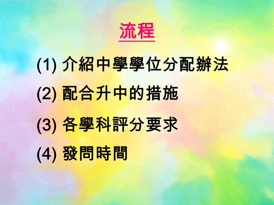 (1) 介紹中學學位分配辦法 (2) 配合升中的措施 (3) 各學科評分要求 (4) 發問時間 流程