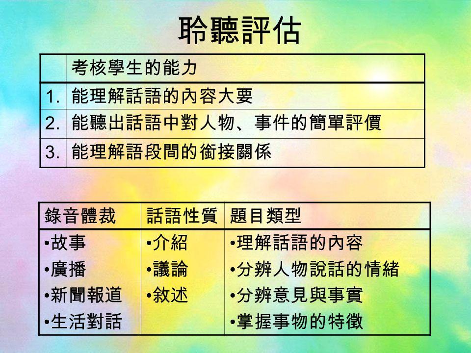 考核學生的能力 1. 能理解話語的內容大要 2. 能聽出話語中對人物、事件的簡單評價 3.