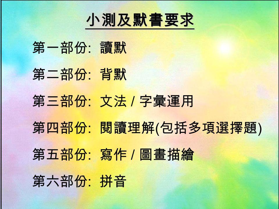 小測及默書要求 第一部份 : 讀默 第二部份 : 背默 第三部份 : 文法 / 字彙運用 第四部份 : 閱讀理解 ( 包括多項選擇題 ) 第五部份 : 寫作 / 圖畫描繪 第六部份 : 拼音