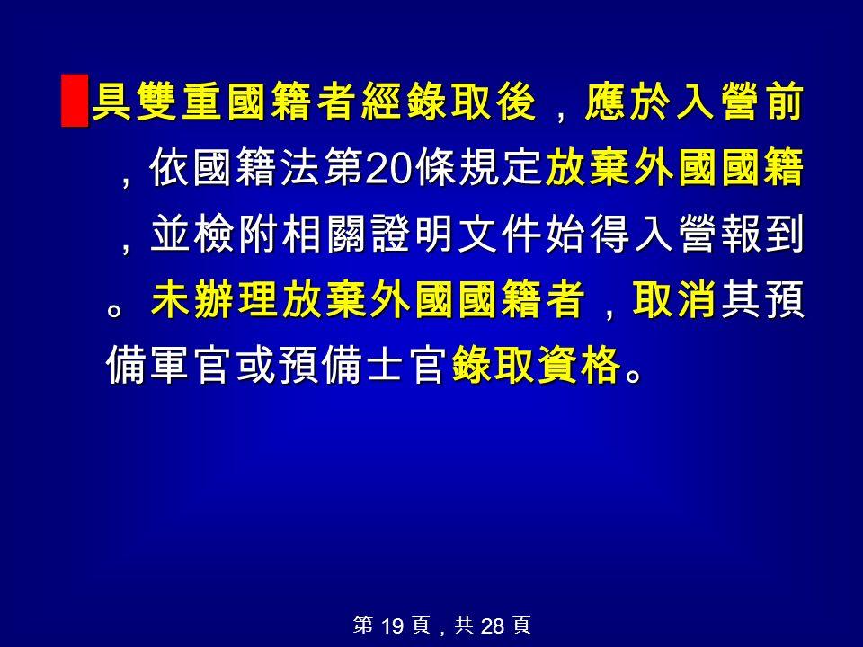█ 具雙重國籍者經錄取後,應於入營前 ,依國籍法第 20 條規定放棄外國國籍 ,並檢附相關證明文件始得入營報到 。未辦理放棄外國國籍者,取消其預 備軍官或預備士官錄取資格。 第 19 頁,共 28 頁
