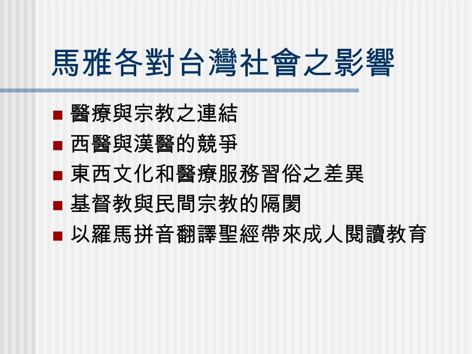 馬雅各對台灣社會之影響 醫療與宗教之連結 西醫與漢醫的競爭 東西文化和醫療服務習俗之差異 基督教與民間宗教的隔閡 以羅馬拼音翻譯聖經帶來成人閱讀教育