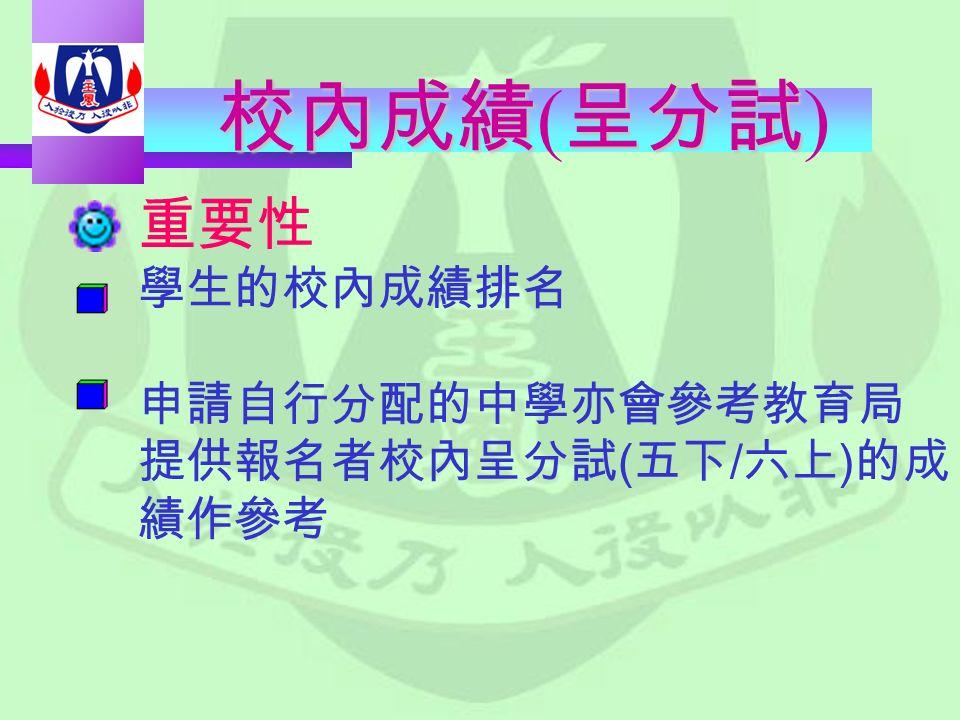 校內成績呈分試 校內成績 ( 呈分試 ) 重要性 學生的校內成績排名 申請自行分配的中學亦會參考教育局 提供報名者校內呈分試 ( 五下 / 六上 ) 的成 績作參考