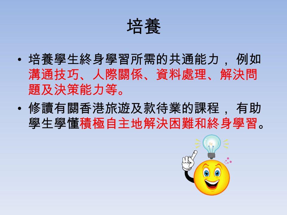 培養 培養學生終身學習所需的共通能力, 例如 溝通技巧、人際關係、資料處理、解決問 題及決策能力等。 修讀有關香港旅遊及款待業的課程, 有助 學生學懂積極自主地解決困難和終身學習。