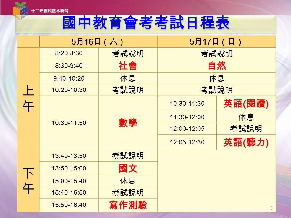 5 月 16 日(六) 5 月 17 日(日) 上午上午 8:20-8:30 考試說明 8:30-9:40 社會自然 9:40-10:20 休息 10:20-10:30 考試說明 10:30-11:50 數學 10:30-11:30 英語 ( 閱讀 ) 11:30-12:00 休息 12:00-12:05 考試說明 12:05-12:30 英語 ( 聽力 ) 下午下午 13:40-13:50 考試說明 13:50-15:00 國文 15:00-15:40 休息 15:40-15:50 考試說明 15:50-16:40 寫作測驗 3 國中教育會考考試日程表