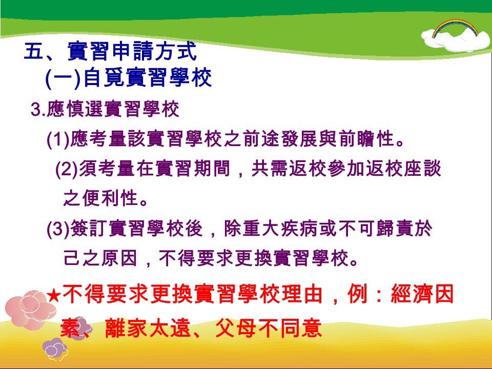 五、實習申請方式 ( 一 ) 自覓實習學校 3.