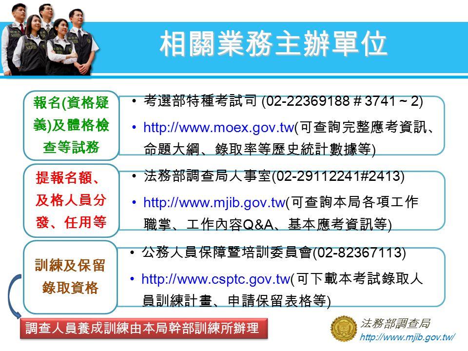 相關業務主辦單位 法務部調查局 http://www.mjib.gov.tw/ 調查人員養成訓練由本局幹部訓練所辦理 考選部特種考試司 (02-22369188 # 3741 ~ 2) http://www.moex.gov.tw( 可查詢完整應考資訊、 命題大綱、錄取率等歷史統計數據等 ) 報名 ( 資格疑 義 ) 及體格檢 查等試務 法務部調查局人事室 (02-29112241#2413) http://www.mjib.gov.tw( 可查詢本局各項工作 職掌、工作內容 Q&A 、基本應考資訊等 ) 提報名額、 及格人員分 發、任用等 公務人員保障暨培訓委員會 (02-82367113) http://www.csptc.gov.tw( 可下載本考試錄取人 員訓練計畫、申請保留表格等 ) 訓練及保留 錄取資格