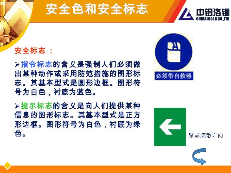 安全标志 :  指令标志的含义是强制人们必须做 出某种动作或采用防范措施的图形标 志。其基本型式是圆形边框。图形符 号为白色,衬底为蓝色。  提示标志的含义是向人们提供某种 信息的图形标志。其基本型式是正方 形边框。图形符号为白色,衬底为绿 色。 紧急疏散方向安全色和安全标志