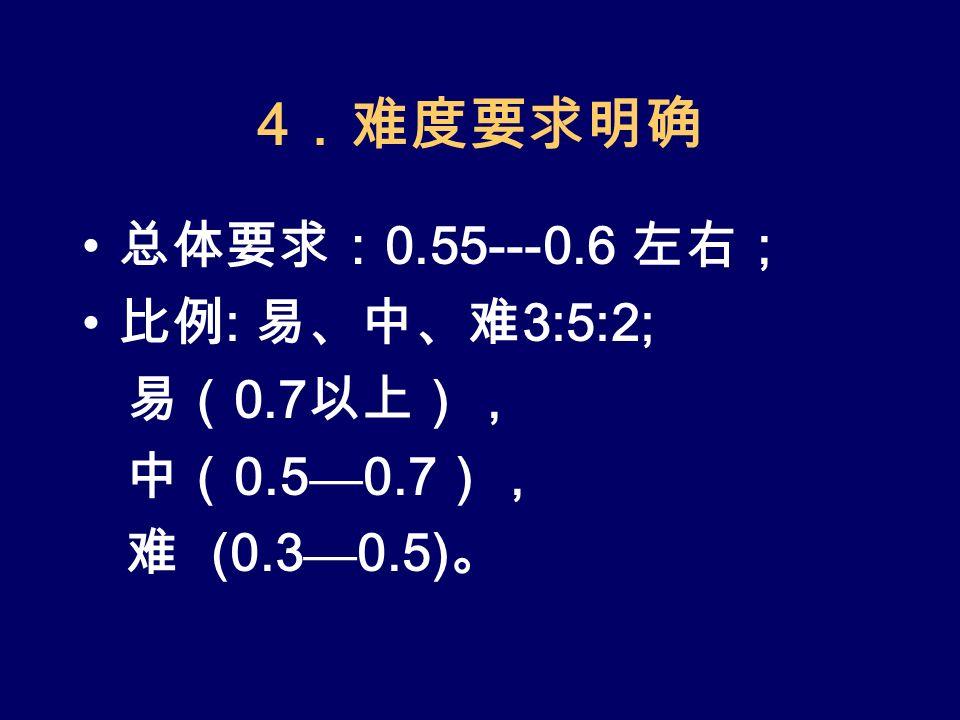 4 .难度要求明确 总体要求: 0.55---0.6 左右; 比例 : 易、中、难 3:5:2; 易( 0.7 以上), 中( 0.5 — 0.7 ), 难 (0.3 — 0.5) 。