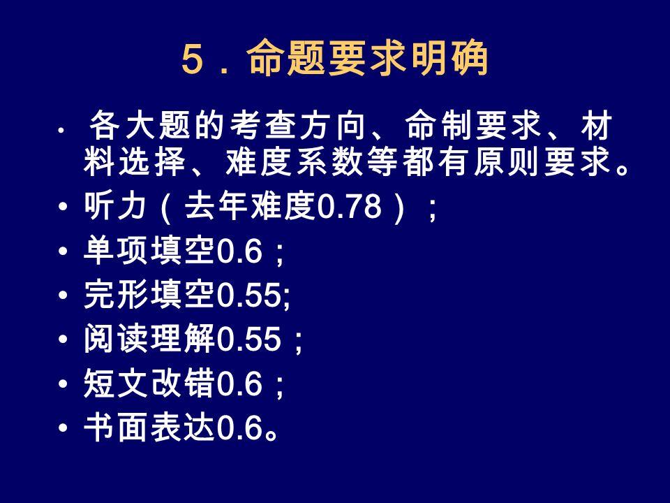 5 .命题要求明确 各大题的考查方向、命制要求、材 料选择、难度系数等都有原则要求。 听力(去年难度 0.78 ); 单项填空 0.6 ; 完形填空 0.55; 阅读理解 0.55 ; 短文改错 0.6 ; 书面表达 0.6 。