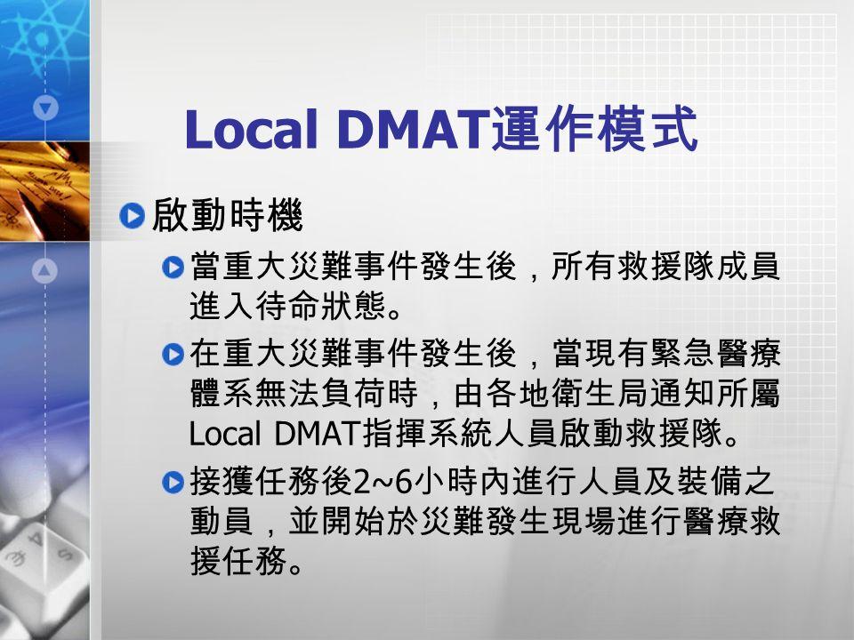 Local DMAT 運作模式 啟動時機 當重大災難事件發生後,所有救援隊成員 進入待命狀態。 在重大災難事件發生後,當現有緊急醫療 體系無法負荷時,由各地衛生局通知所屬 Local DMAT 指揮系統人員啟動救援隊。 接獲任務後 2~6 小時內進行人員及裝備之 動員,並開始於災難發生現場進行醫療救 援任務。