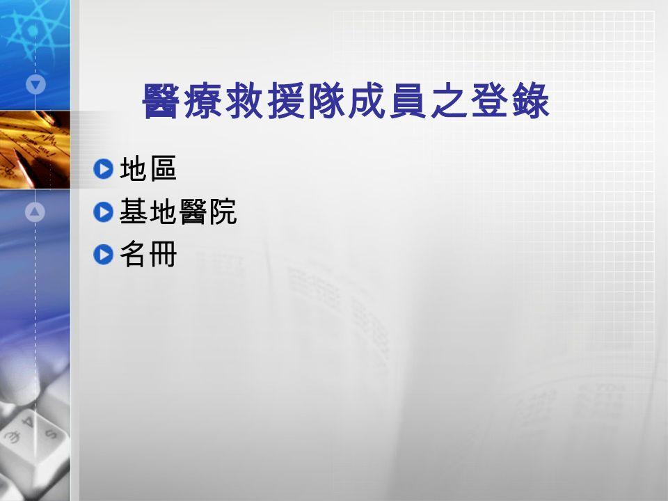 醫療救援隊成員之登錄 地區 基地醫院 名冊