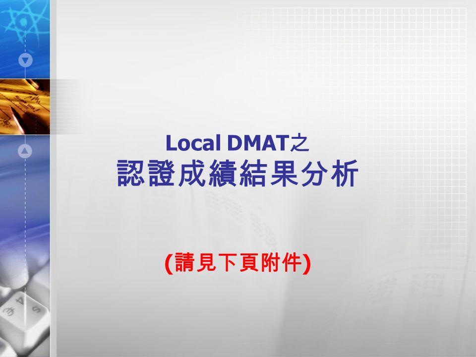 Local DMAT 之 認證成績結果分析 ( 請見下頁附件 )