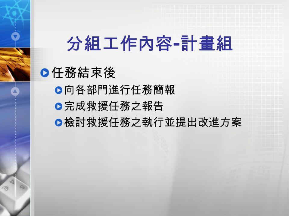 分組工作內容 - 計畫組 任務結束後 向各部門進行任務簡報 完成救援任務之報告 檢討救援任務之執行並提出改進方案