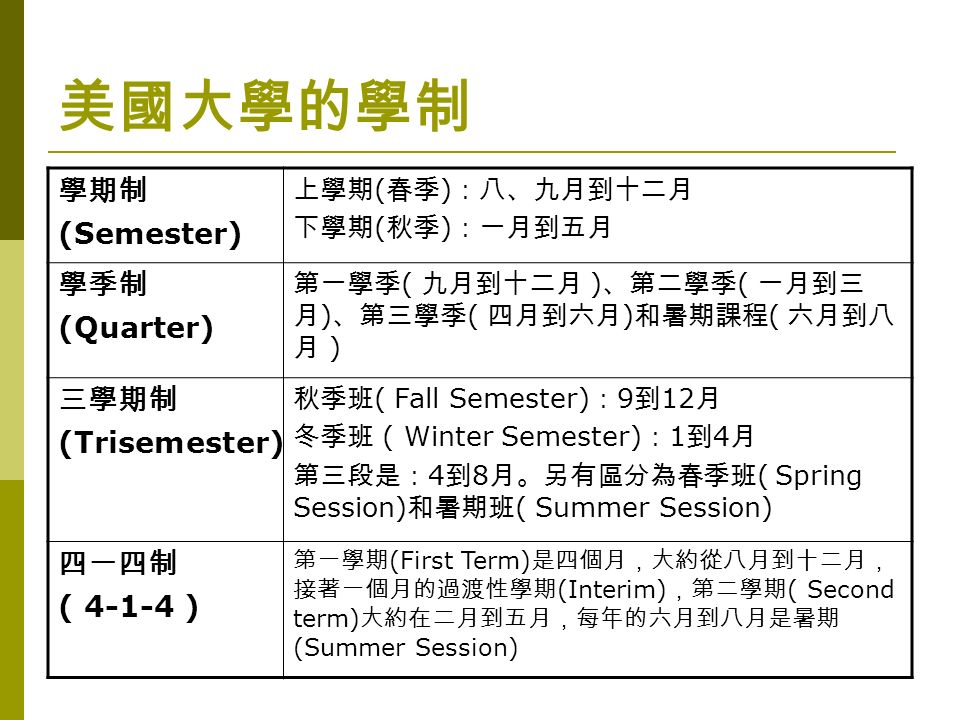 美國大學的學制 學期制 (Semester) 上學期 ( 春季 ) :八、九月到十二月 下學期 ( 秋季 ) :一月到五月 學季制 (Quarter) 第一學季 ( 九月到十二月 ) 、第二學季 ( 一月到三 月 ) 、第三學季 ( 四月到六月 ) 和暑期課程 ( 六月到八 月 ) 三學期制 (Trisemester) 秋季班 ( Fall Semester) : 9 到 12 月 冬季班 ( Winter Semester) : 1 到 4 月 第三段是: 4 到 8 月。另有區分為春季班 ( Spring Session) 和暑期班 ( Summer Session) 四一四制 ( 4-1-4 ) 第一學期 (First Term) 是四個月,大約從八月到十二月, 接著一個月的過渡性學期 (Interim) ,第二學期 ( Second term) 大約在二月到五月,每年的六月到八月是暑期 (Summer Session)