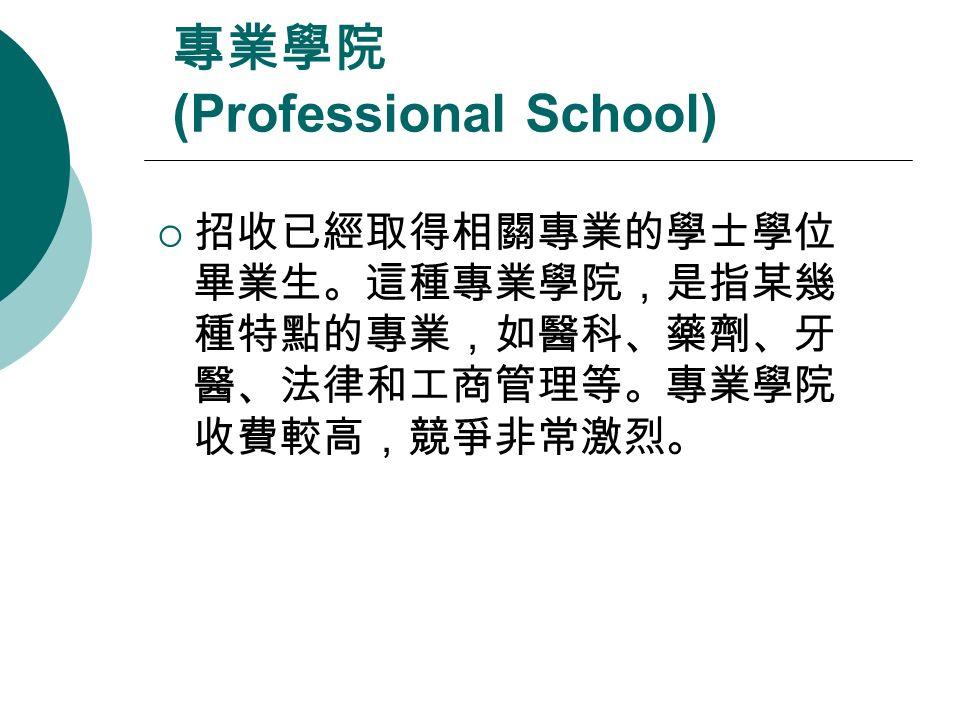 專業學院 (Professional School)  招收已經取得相關專業的學士學位 畢業生。這種專業學院,是指某幾 種特點的專業,如醫科、藥劑、牙 醫、法律和工商管理等。專業學院 收費較高,競爭非常激烈。