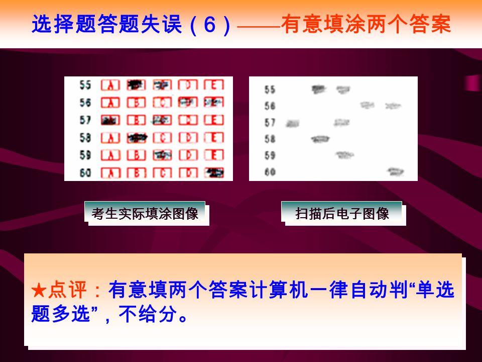 选择题答题失误( 6 ) —— 有意填涂两个答案 ★点评:有意填两个答案计算机一律自动判 单选 题多选 ,不给分。 考生实际填涂图像 扫描后电子图像
