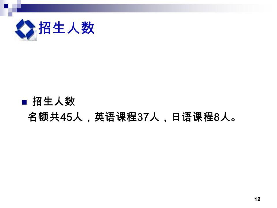 12 招生人数 名额共 45 人,英语课程 37 人,日语课程 8 人。