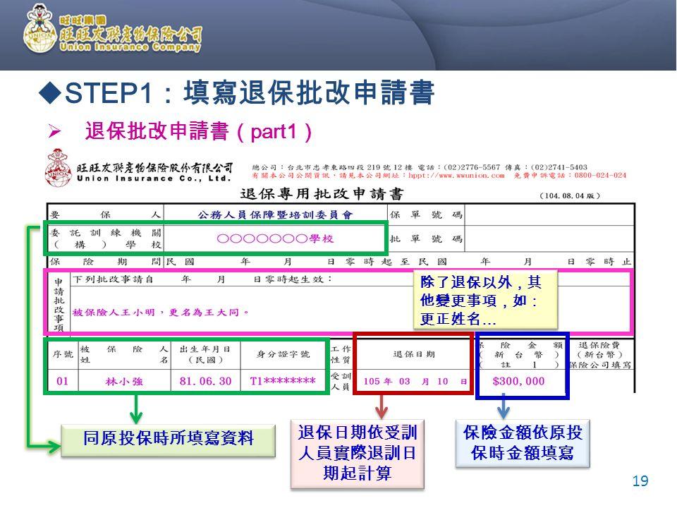  STEP1 :填寫退保批改申請書  退保批改申請書( part1 ) 同原投保時所填寫資料 退保日期依受訓 人員實際退訓日 期起計算 退保日期依受訓 人員實際退訓日 期起計算 保險金額依原投 保時金額填寫 19 除了退保以外,其 他變更事項,如: 更正姓名 …